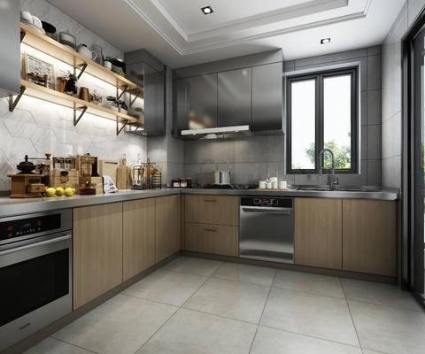 橱柜, 油烟机, 煤气灶, 水槽, 烤箱, 洗碗机, 厨具, 餐具, 置物架