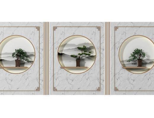 花格隔断, 背景墙, 盆栽, 绿植植物, 新中式