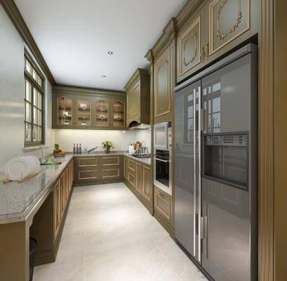 厨房, 橱柜, 厨具, 冰箱, 装饰品, 陈设品, 法式