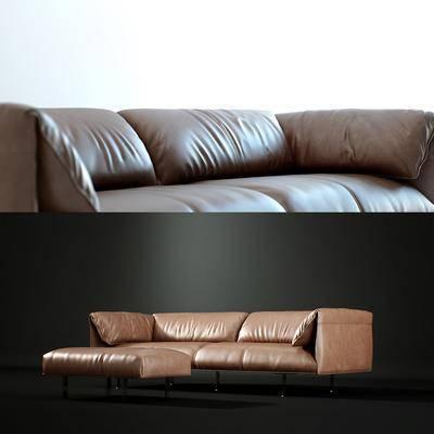 多人沙发, 脚踏, 皮革, 现代