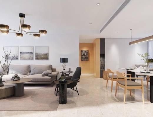 现代客厅, 现代餐厅, 现代, 现代沙发组合, 现代吊灯, 餐桌椅
