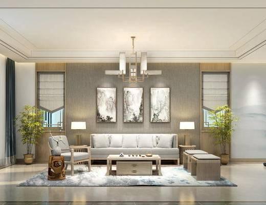 娱乐室, 沙发组合, 挂画, 吊灯, 边几, 台灯, 单椅