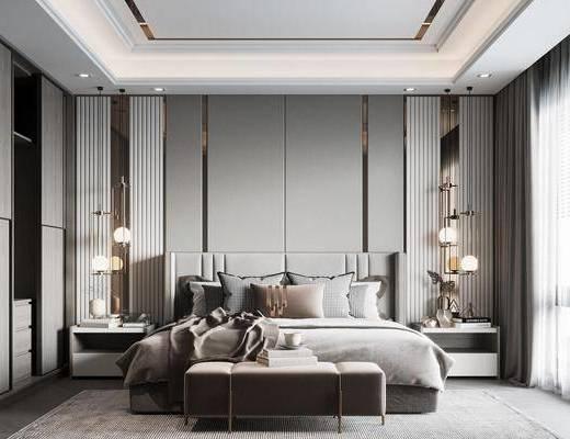 现代, 卧室, 双人床, 床头柜, 衣柜