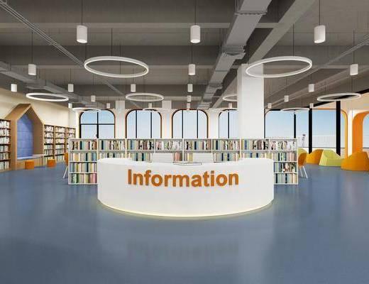 学校, 图书馆, 吊灯, 书柜, 书籍
