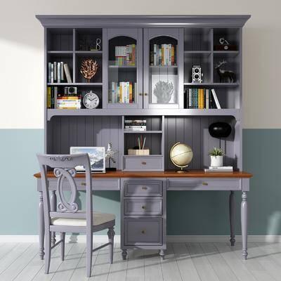 简欧书桌, 书桌, 书桌椅