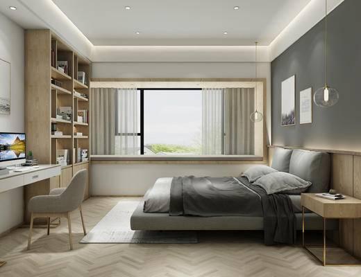 北欧卧室组合, 北欧床, 北欧床头柜, 书桌, 书架, 北欧吊灯, 挂画