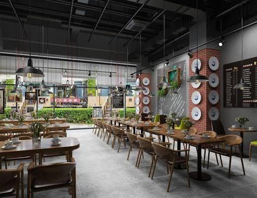 咖啡厅, 餐桌, 餐椅, 单人椅, 餐具, 墙饰, 花瓶花卉, 吊灯, 绿植植物, 工业风