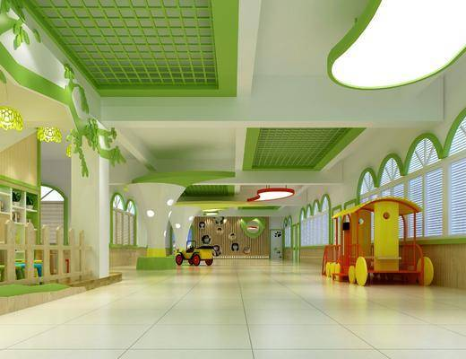 幼儿园大厅, 图书室, 桌椅组合, 书桌椅组合, 现代