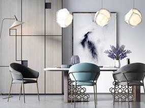 北欧简约, 餐桌椅组合, 吊灯, 花瓶, 置物柜, 北欧