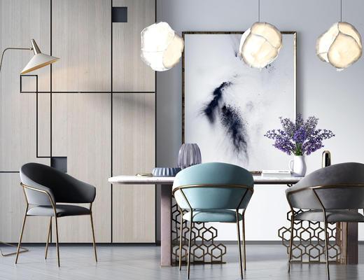 北欧简约, 餐桌椅组合, 吊灯, 花瓶, 置物柜