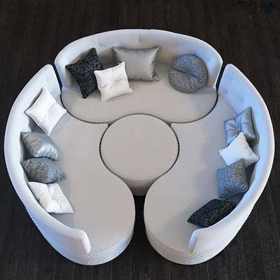 多人沙发, 弧形沙发, 布艺沙发, 现代