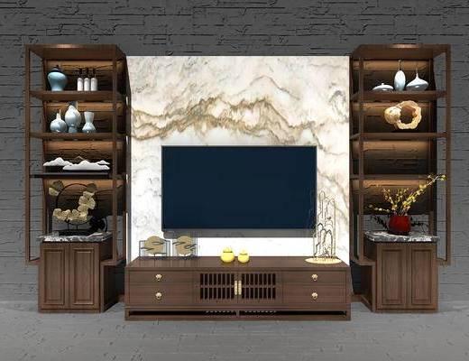 新中式, 中式, 电视柜, 装饰柜, 置物柜, 陈设品, 摆件