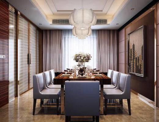 餐厅, 现代餐厅, 餐桌椅, 桌椅组合, 椅子, 餐具