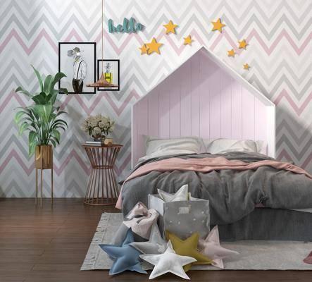 儿童床, 床具组合, 玩具组合, 北欧