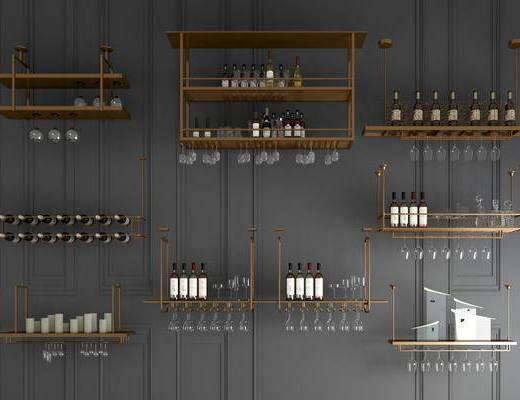 金屬酒架, 玻璃酒架, 現代輕奢