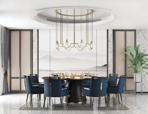 餐厅, 桌椅组合, 餐具组合, 吊灯, 背景墙, 盆栽植物
