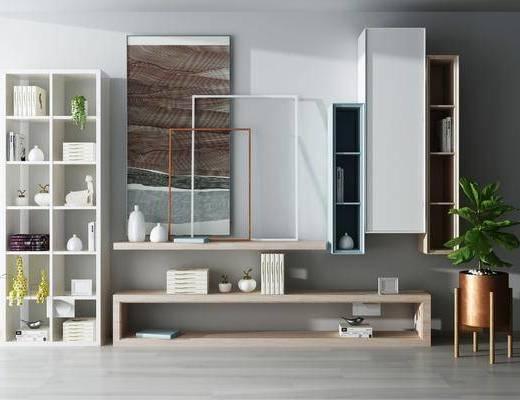现代书柜电视柜组合, 现代, 书柜, 装饰柜, 电视柜, 植物, 盆栽, 摆件
