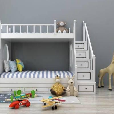 双层床, 儿童床, 上下床, 玩具, 玩偶, 现代, 儿童