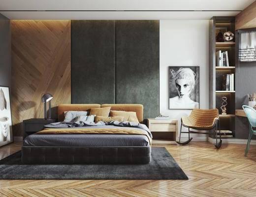 双人床, 装饰画, 单椅, 桌椅组合, 书籍