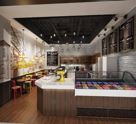 甜品店面, 蛋糕店面, 快餐桌椅, 食品展示柜, 收银台, 壁柜, 吊灯