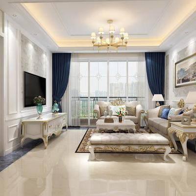 客厅, 沙发, 多人沙发, 沙发凳, 单人沙发, 茶几, 吊灯, 台灯, 电视柜, 石膏线, 花瓶, 花卉, 挂画, 装饰画, 矮柜, 欧式