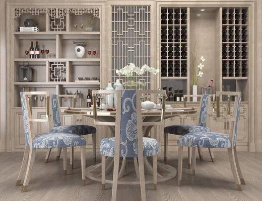 餐桌, 餐椅, 单人椅, 圆桌, 餐具, 酒柜, 酒瓶, 花瓶花卉, 摆件, 装饰品, 陈设品, 纯木雕花背, 中式