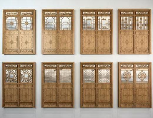 雕花门, 双开门, 中式