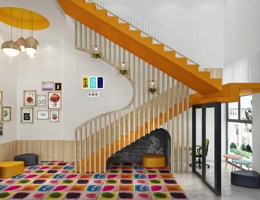 楼梯间, 娱乐, 儿童, 吊灯