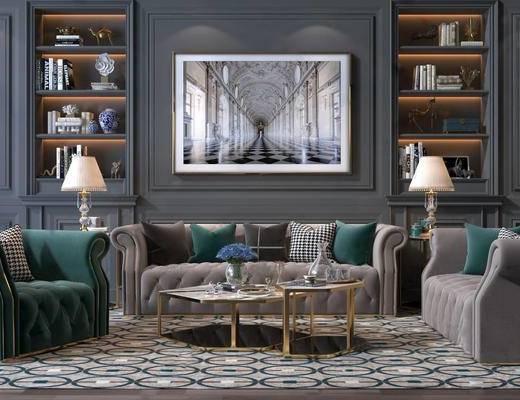 美式轻奢沙发组合, 沙发组合, 沙发茶几组合