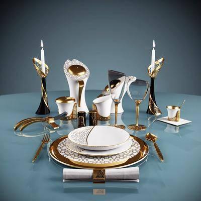 蜡烛台, 酒杯, 餐具, 欧式