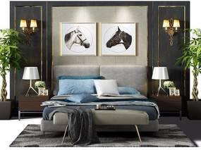现代风格双人床, 现代, 床, 布艺床, 脚踏, 壁灯, 植物, 台灯, 装饰画