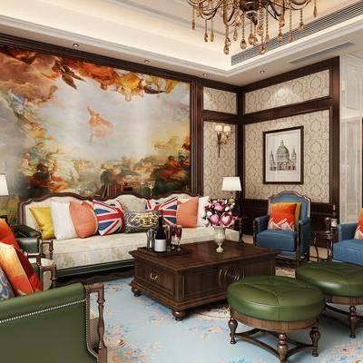 美式客厅, 美式沙发, 沙发组合, 沙发茶几组合