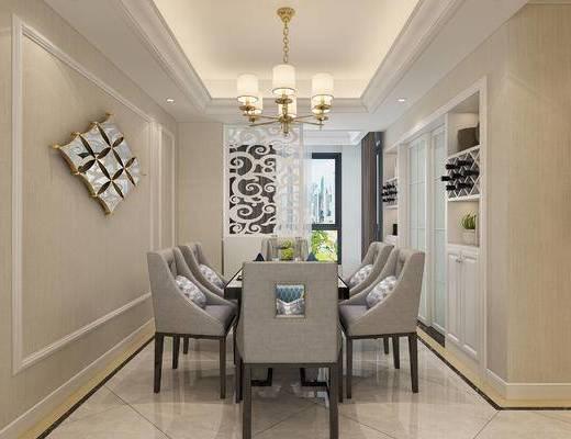 现代简约, 客餐厅, 客厅, 现代客厅, 现代沙发, 沙发组合