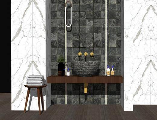 洗手间, 卫浴, 洗手盆, 吊灯