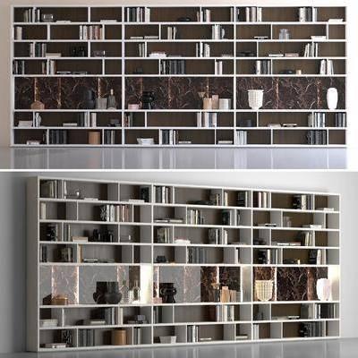 书柜, 置物柜, 装饰柜, 陈设品, 摆件, 书籍, 现代