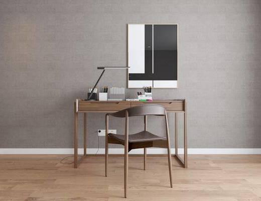 書桌, 單人椅, 擺件, 裝飾品, 陳設品, 臺燈, 裝飾畫, 掛畫, 北歐