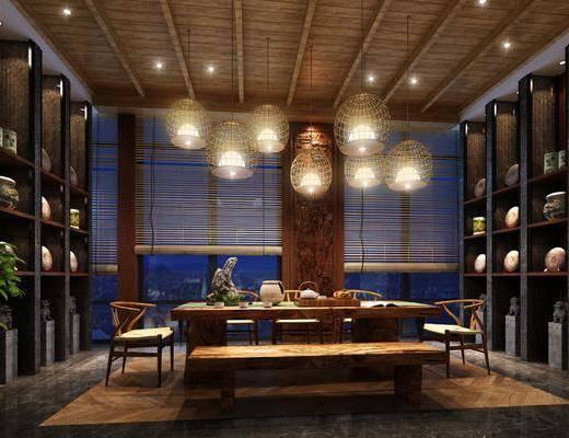 茶馆, 茶桌, 单人椅, 吊灯, 装饰柜, 装饰品, 陈设品, 新中式