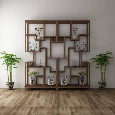 装饰柜, 摆件, 绿植, 中式