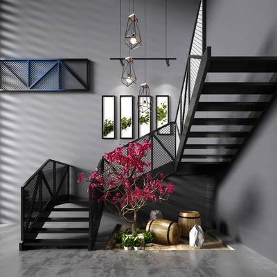 楼梯, 景观树, 木桶, 工业风