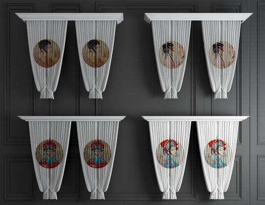 窗帘组合, 布艺窗帘, 新中式