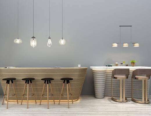 吧台吧椅, 单人椅, 吊灯组合, 摆件组合, 现代