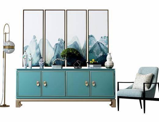 边柜, 装饰柜, 单椅, 椅子, 挂画, 装饰画, 落地灯, 摆件, 装饰品, 新中式
