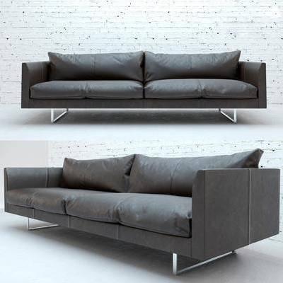 多人沙发, 皮革沙发, 现代