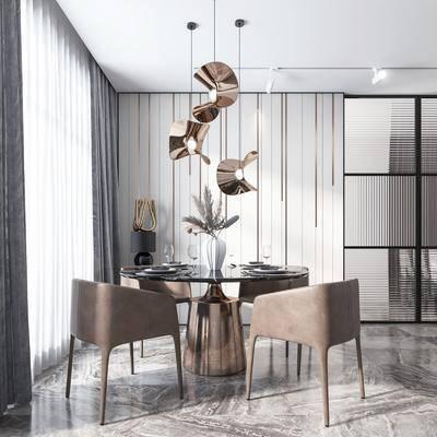 餐桌, 桌椅组合, 吊灯, 花瓶, 餐具组合