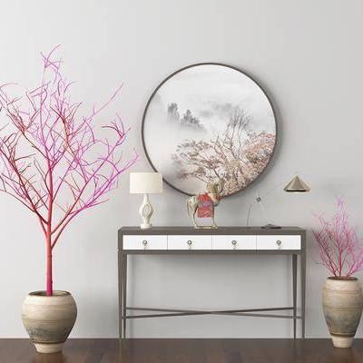 边几, 边柜, 挂画, 台灯, 摆件, 盆栽, 新中式
