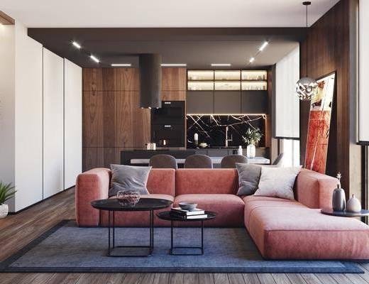 沙发组合, 装饰画, 茶几, 摆件组合