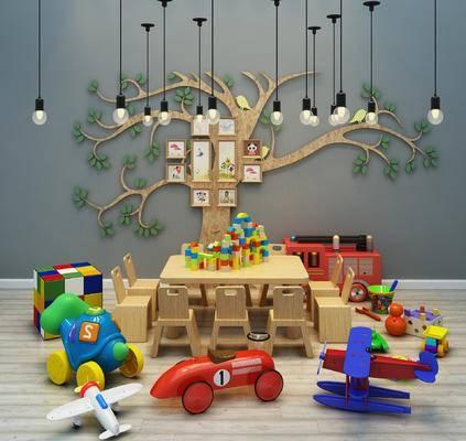 现代, 儿童玩具, 墙饰, 灯具, 儿童桌椅组合