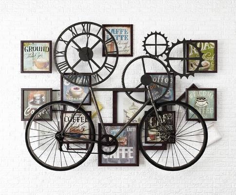 工业风齿轮单车墙饰, 破旧单车壁饰