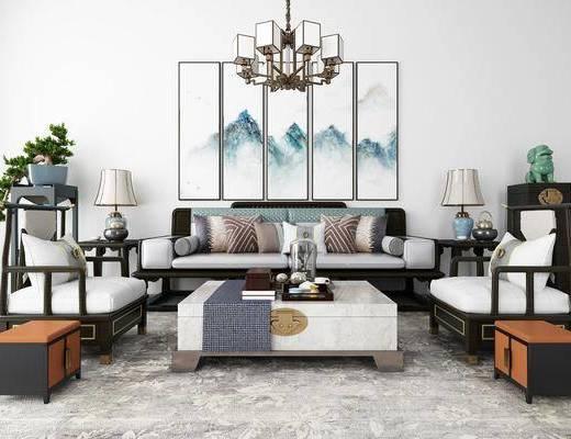 沙发组合, 多人沙发, 茶几, 单人沙发, 边几, 台灯, 风景画, 装饰画, 组合画, 吊灯, 盆栽, 绿植植物, 摆件, 装饰品, 陈设品, 新中式