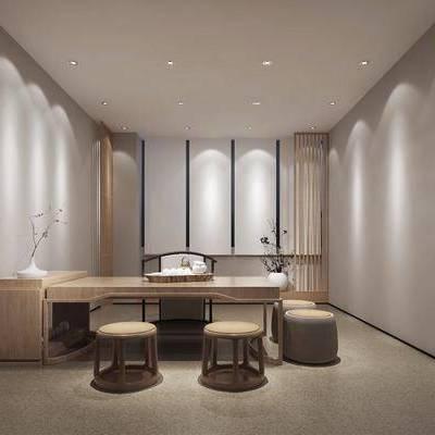 茶室, 书桌, 茶桌, 椅子, 单人椅, 凳子, 摆件, 花卉, 盆栽, 新中式